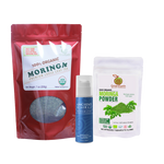 Immunity Booster Coco-Moringa Power Pack12 (Set of 3) GreenEarth Certified 100% Organic Moringa Loose Leaf Tea 198.5g in red resealable pouch, Moringa Powder 100 g by in white resealable pouch, and Ancient Minerals Magnesium Lotion 5 oz.made of certified organic oils in eco-friendly non-breakable bottle with pump.