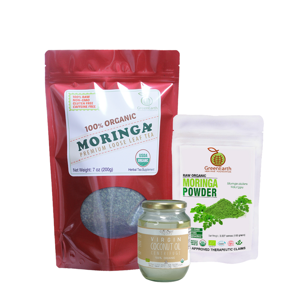 Immunity Booster Coco-Moringa Power Pack11 (Set of 3) contains GreenEarth Certified 100% Organic Moringa Loose Leaf Tea 198.5 g in red resealable pouch, Moringa Powder 100 g in white resealable pouch, and Certified 100% Organic Coconut Republic® Virgin Coconut Oil 470 ml in glass jar.