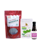 Triple Treat Energizer Combo9 (Set of 3) has Certified 100% Organic GreenEarth  Moringa Loose Leaf Tea 198 g, Moringa Powder 100 g, and Coconut Republic Coconut Syrup 120 ml. Made in the Philippines.