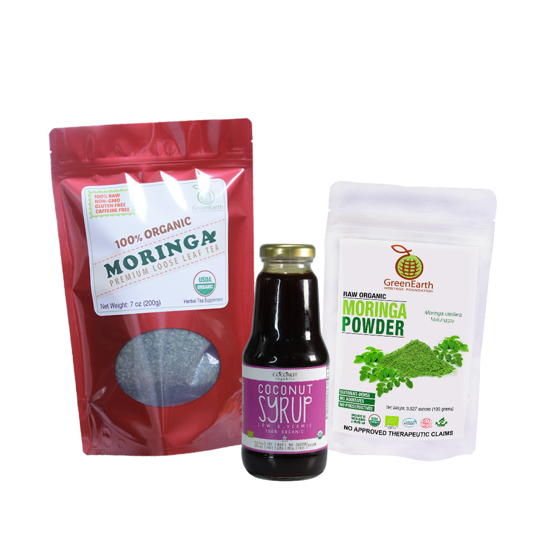 Triple Treat Energizer Combo8 (Set of 3) has Certified 100% Organic GreenEarth  Moringa Loose Leaf Tea 198 g, Moringa Powder 100 g, and Coconut Republic Coconut Syrup 350 ml. Made in the Philippines.