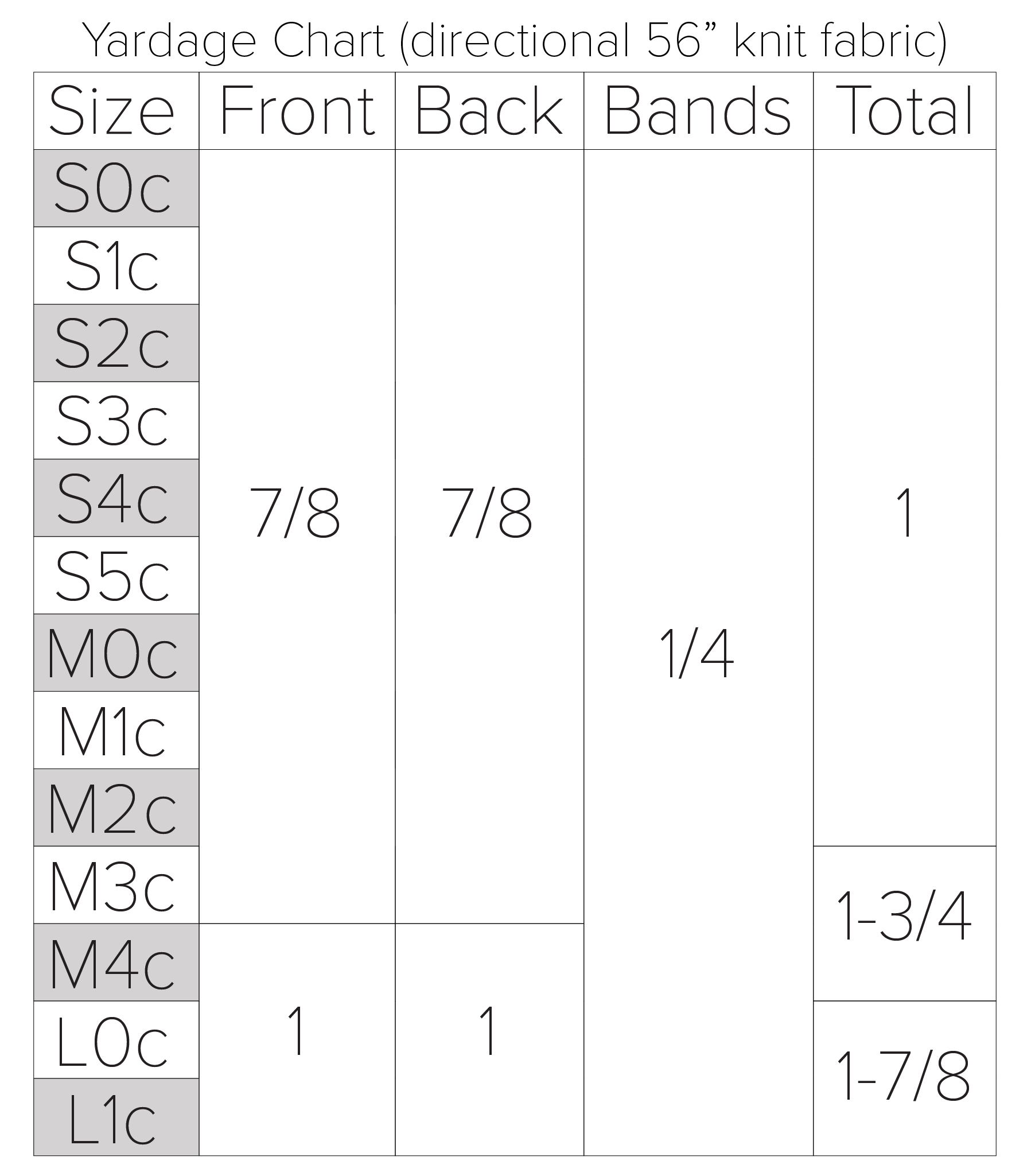 yardage chart for the tight adult tank