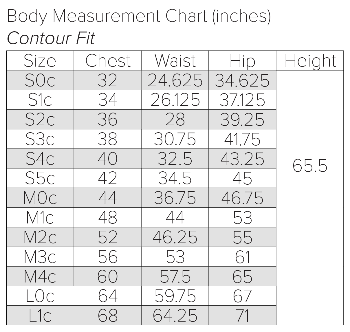 contour body frame size chart 68 inch bust to 32 inch bust