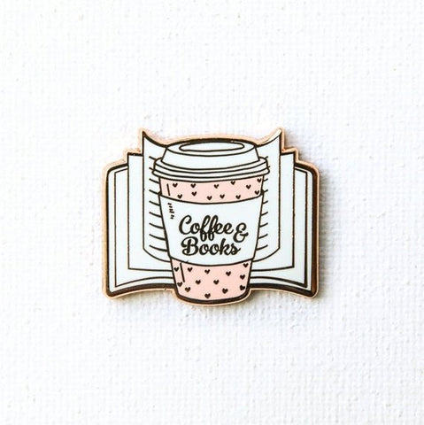 coffee and books enamel pin