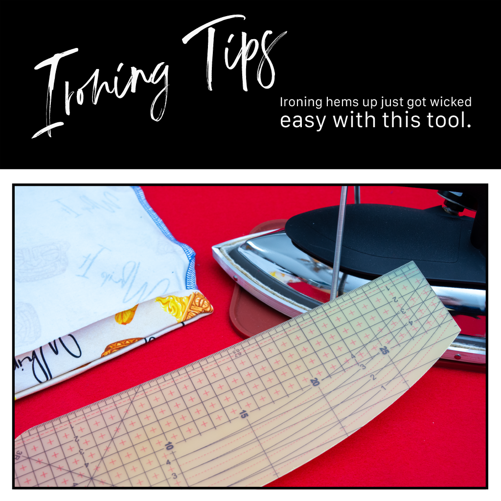 hot iron ruler sitting against an iron next to a dress hem on a red background