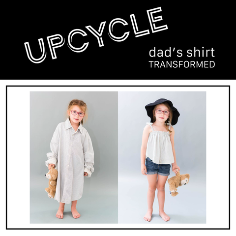 before picture of little girl wearing adult shirt and after picture of girl wearing shirt now a kids summer shirt
