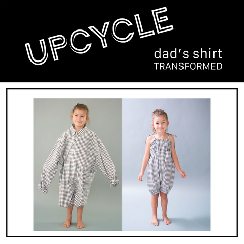 before image of girl wearing adult size collar shirt and after photo of girl wearing the shirt after its become a romper