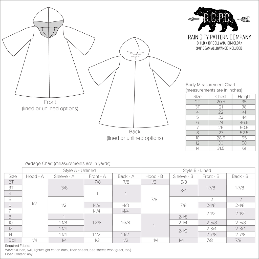 Anaheim Cloak | Child Size 2T-14 and Doll Size 18"