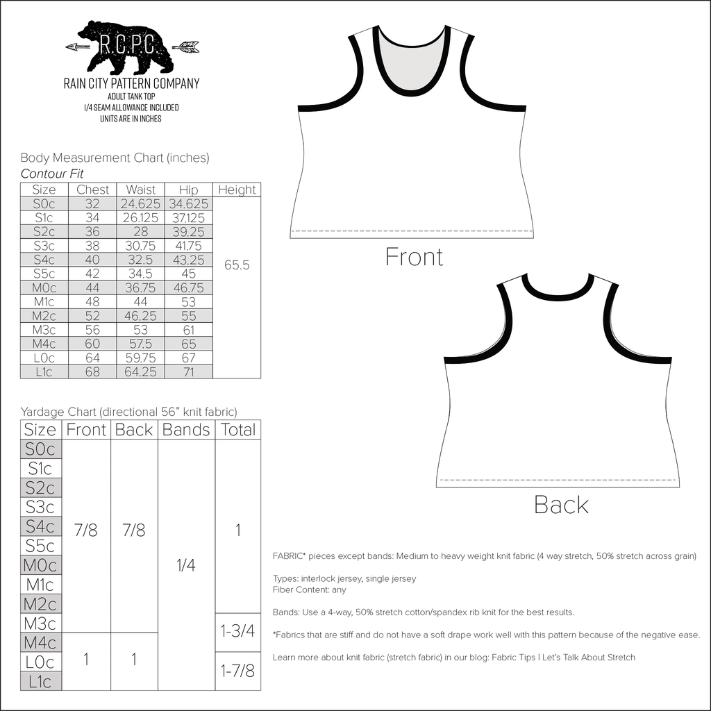 Tight Tank Top | Adult Sizes S0c-L1c | Beginner Level Sewing Pattern