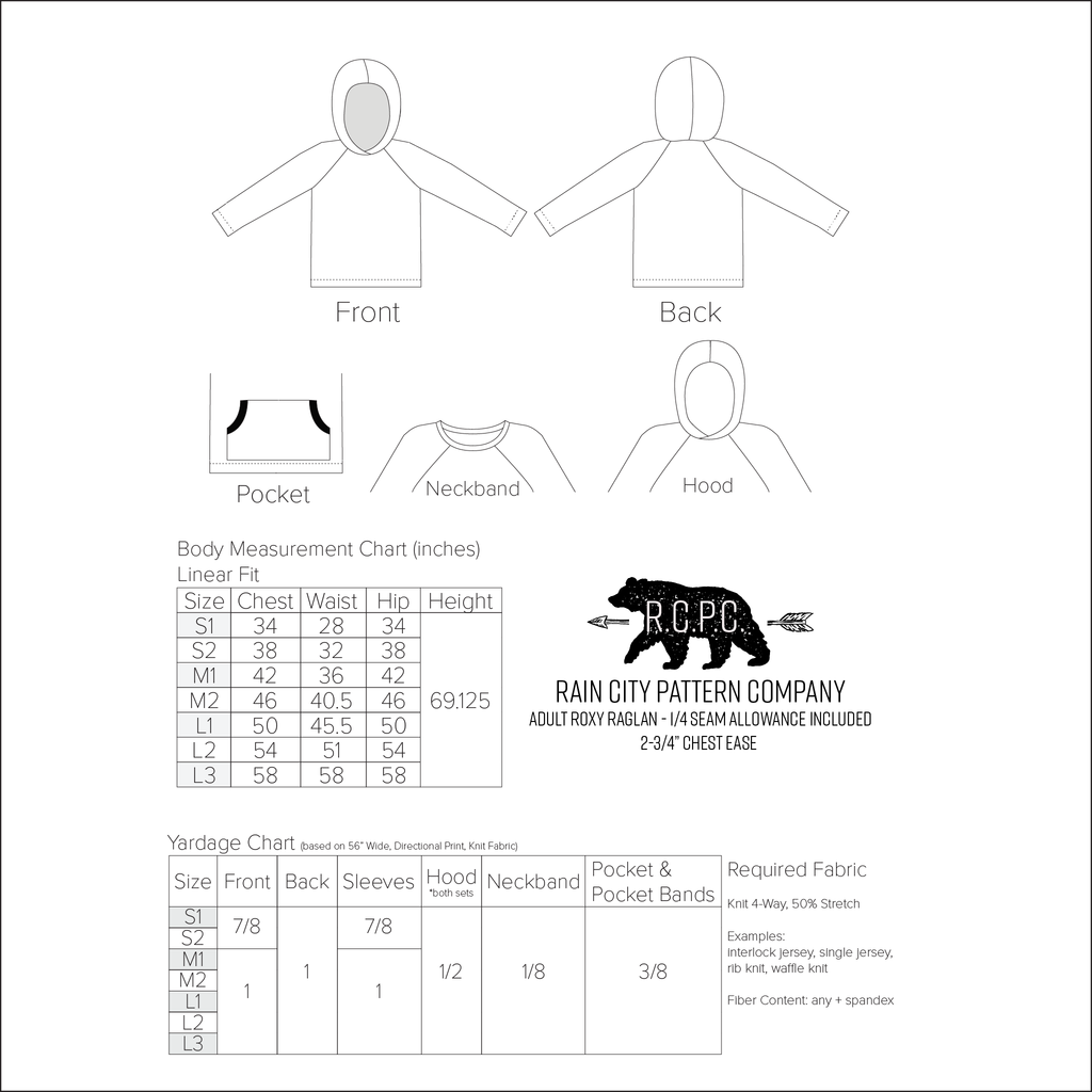 Roxy Raglan | Adult Sizes S1 - L3 | Beginner Level Sewing Pattern