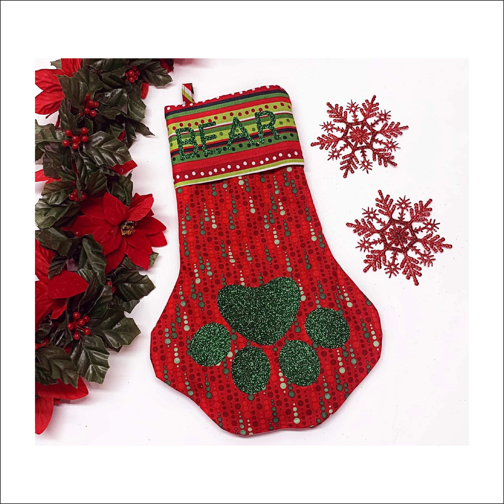 Paw-rific Stocking | Free Pattern Pieces | Beginner Level Sewing Pattern