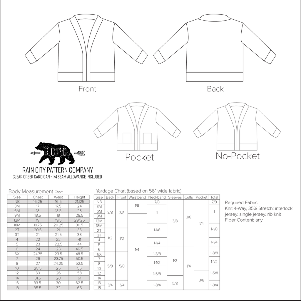 Clear Creek Cardigan |  Baby to Big Kid Sizes NB - 18 | Beginner Level Sewing Pattern