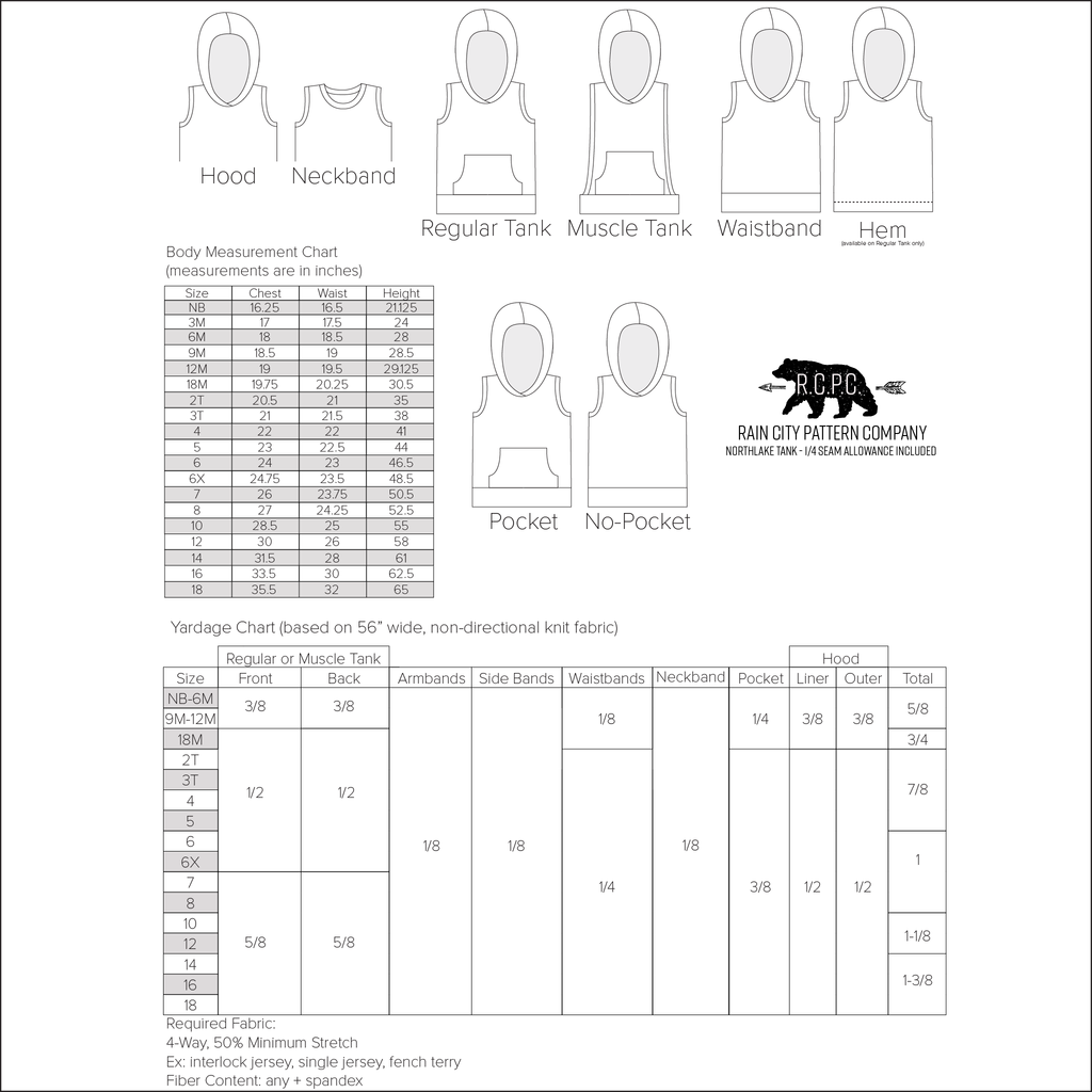 Northlake Tank + Muscle Tank | Newborn to Big Kid Sizes NB-18 | Beginner Level Sewing Pattern