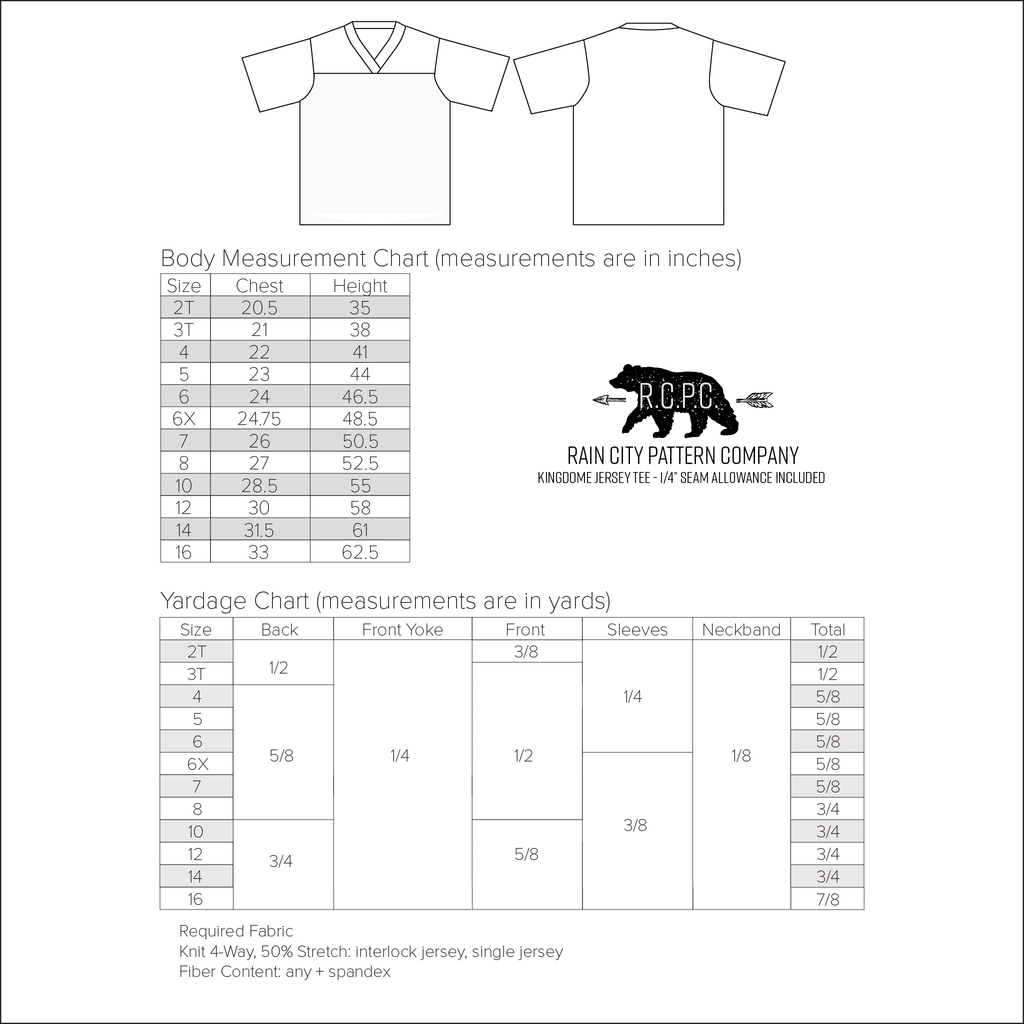 Kingdome Football Jersey Tee | Child Sizes 2T-16 | Beginner Level Sewing Pattern