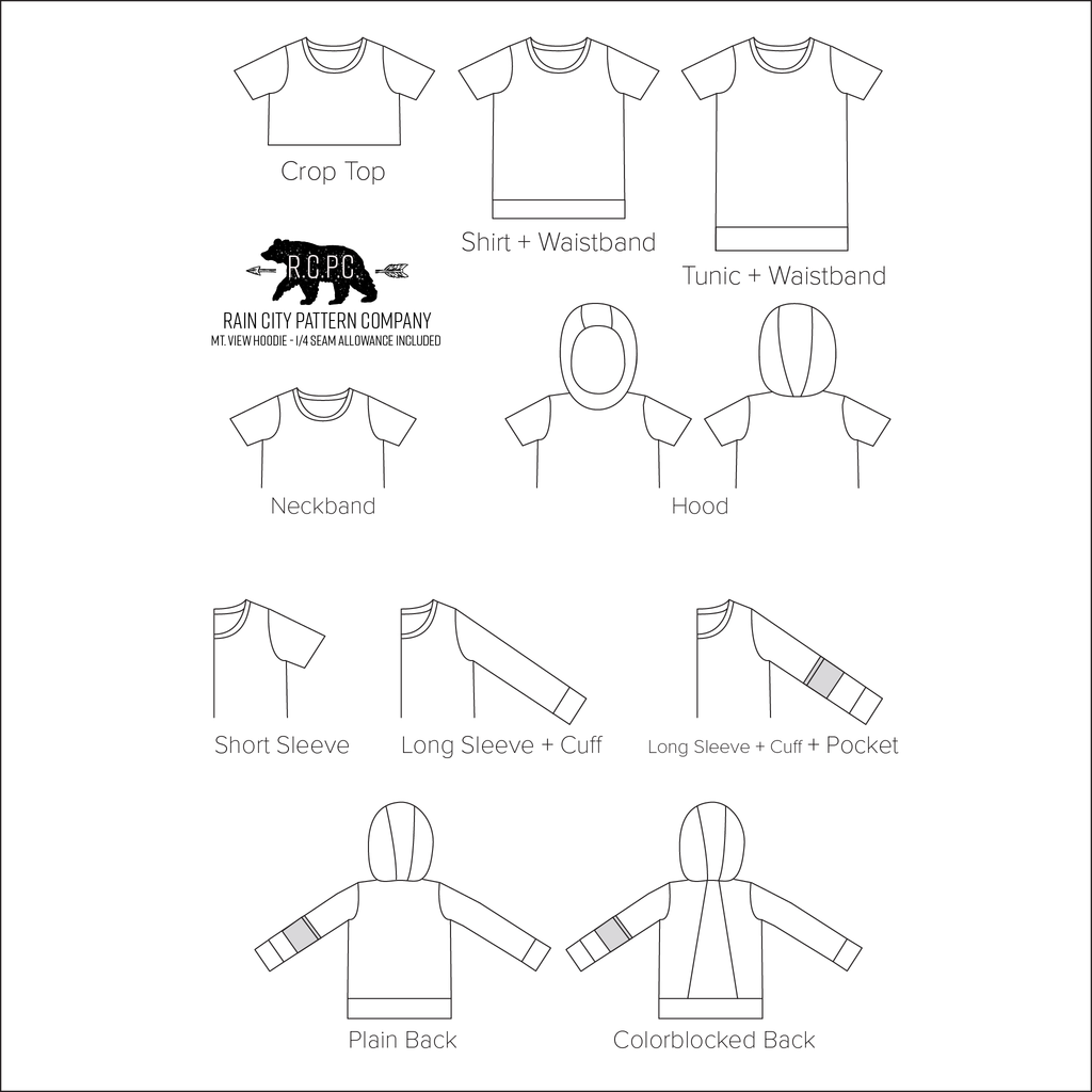 Mountain View Hoodie and Tee | Child Sizes 2T-14 | Beginner Level Sewing Pattern