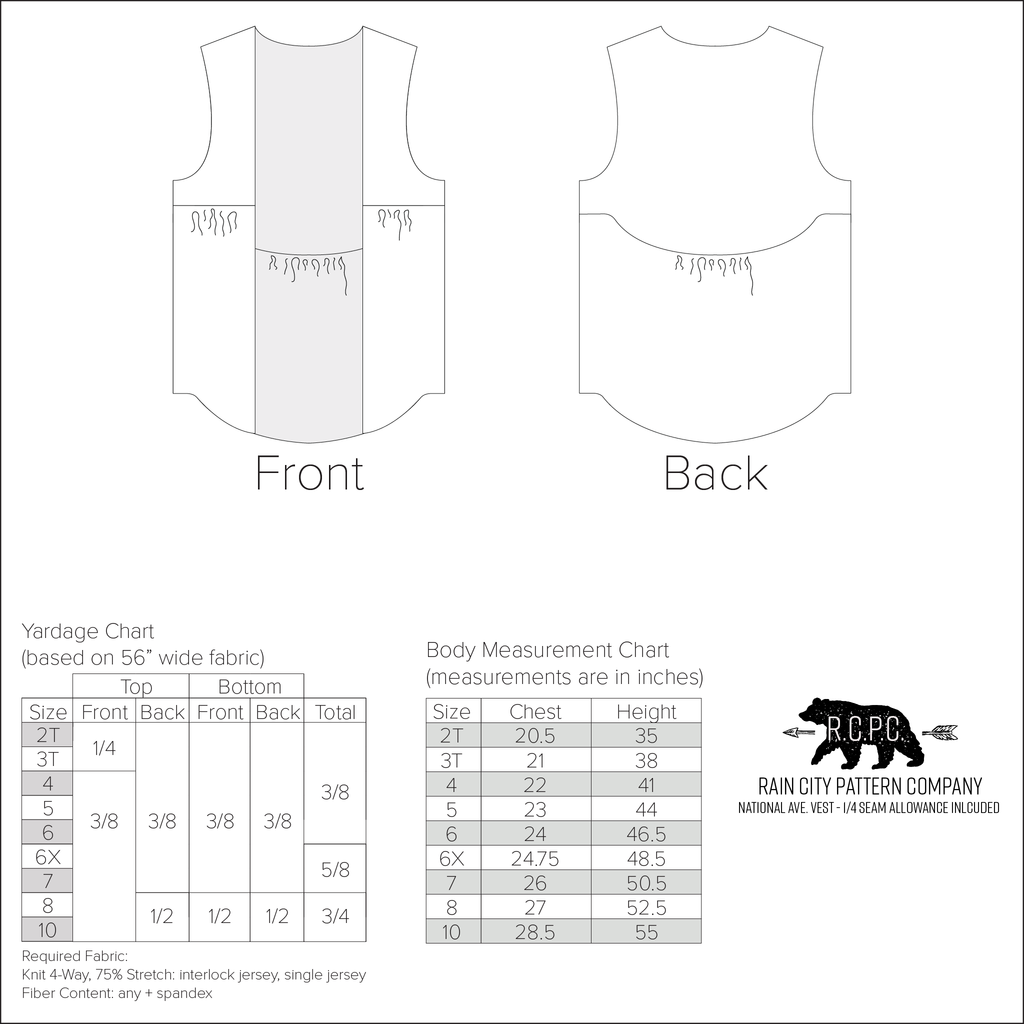 National Ave. Vest | Child Sizes 2T-10 | Beginner Level Sewing Pattern