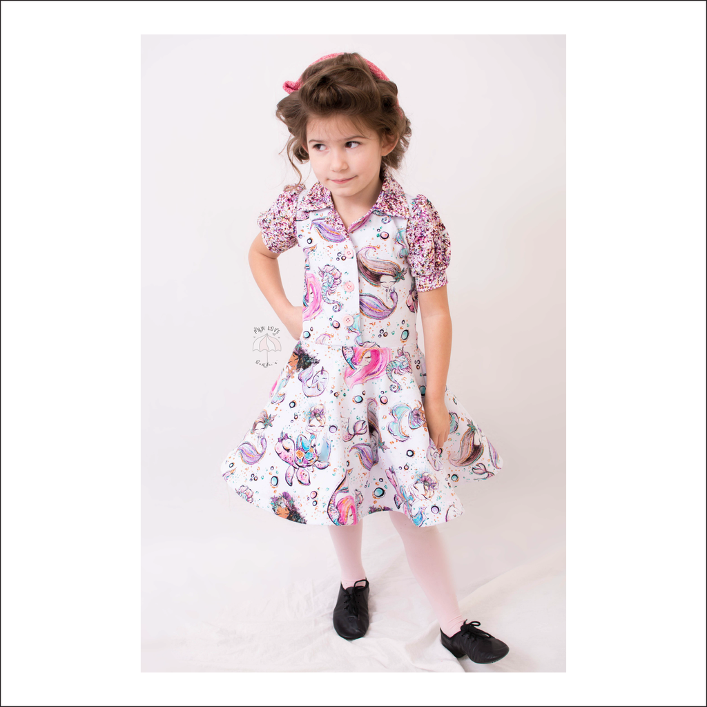 Pacific Ave. Retro Collar Dress | Child Sizes 2T-10 | Beginner Level Sewing Pattern