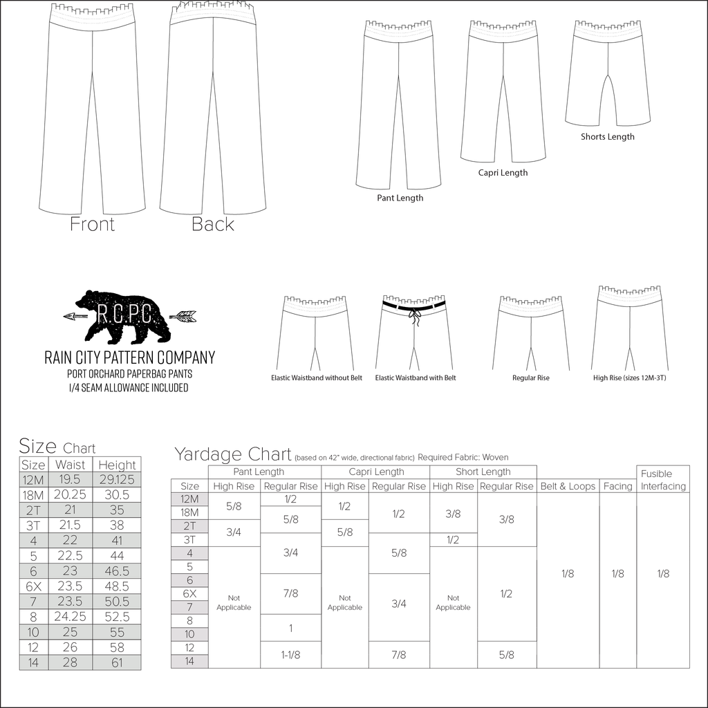 Port Orchard Paperbag Pants, Capris, Shorts | Child Sizes 12M-14 | Beginner Level Sewing Pattern