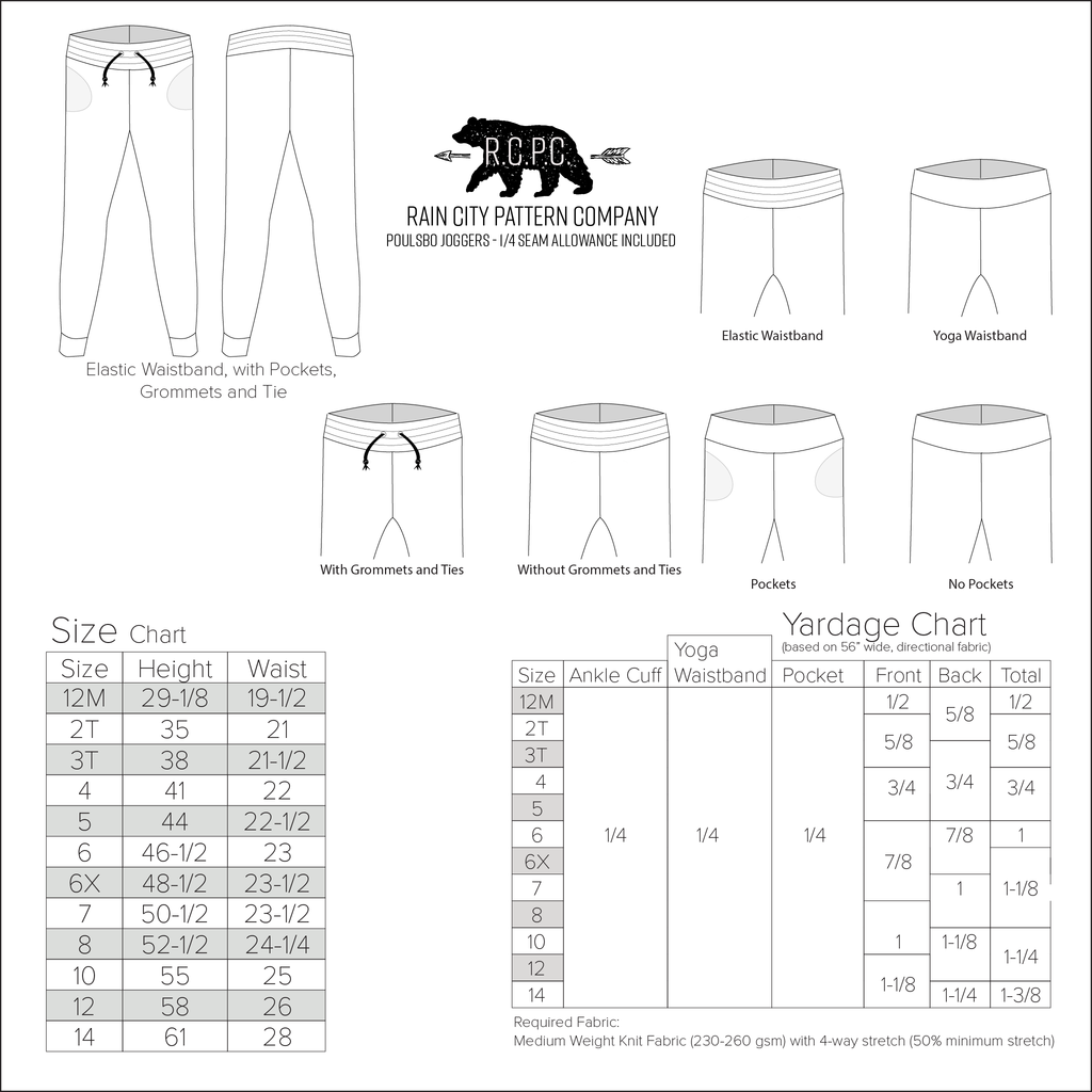Poulsbo Joggers | Child Sizes 12M-14 | Beginner Level Sewing Pattern