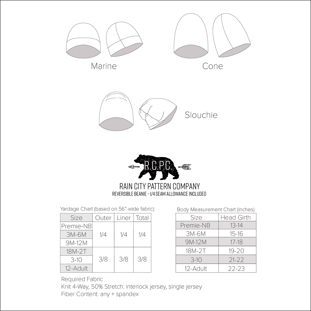Reversible Beanie | Premie to Big Kid to Adult Sizes NB - 12+ | Beginner Level Sewing Pattern