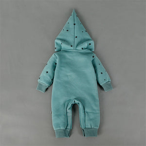 Unisex Newborn Cotton Flannel Warm Hooded Romper Moon & Star