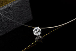 Dazzling Zircon And Invisible Transparent Fishing Line Pendant Necklace