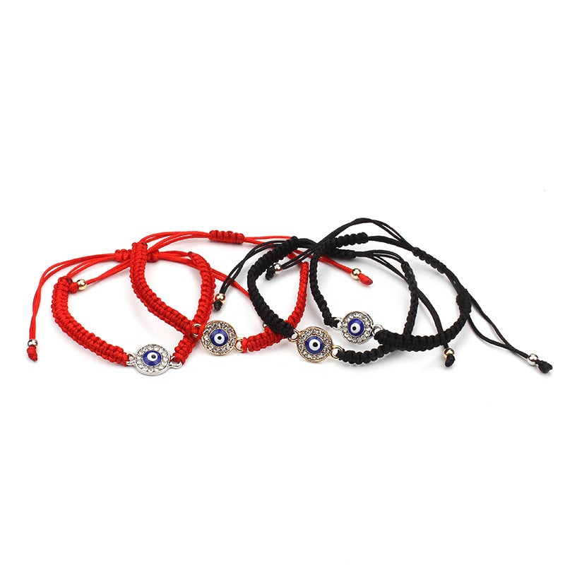 Red / Black string rope circle blue evil eye charm handmade bracelet