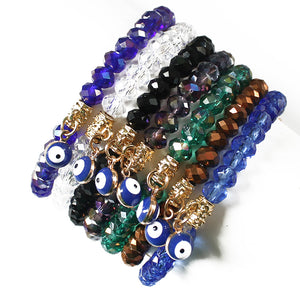 Evil Eye Charms Crystal Elastic Bracelets For Women