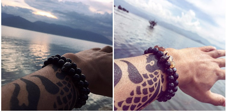 New Fashion Natural Black Beads Bracelet for Women and Mens
