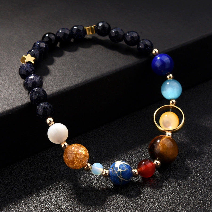 The Eight Planets Solar System Guardian Star Natural Stone Beads Bracelet