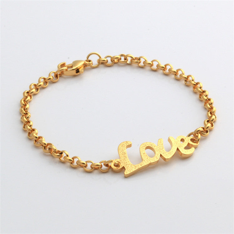 Small Size Baby Bracelet Gold Love Letters