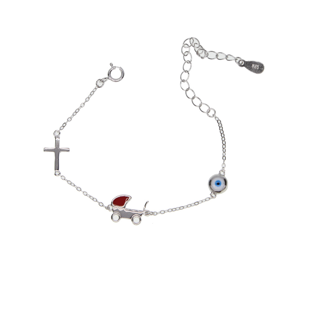Sterling silver cross and bb car with eye charm Bracelets