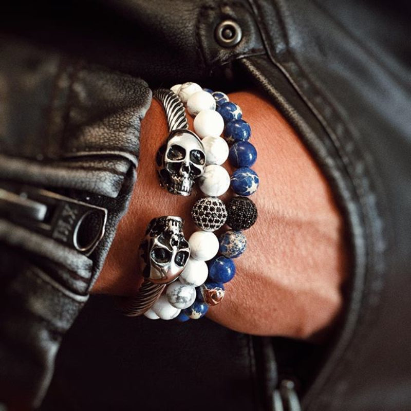 Mens Gothic Punk Skull Cuff Bangle Bracelet