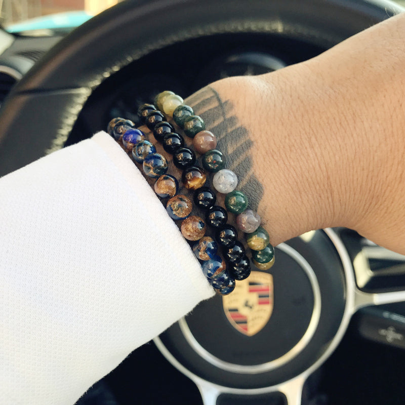 Natural Black Stone Beads Bracelet for Men