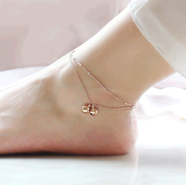 Minimalist style double-fringed bell anklet