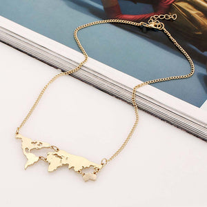 World Map Pendant Necklace For Women