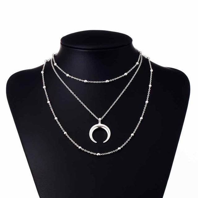 New Fashion 3 Layer Double Horn Necklace