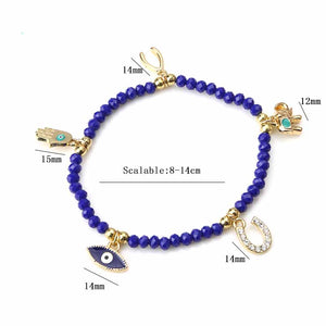 Crystal Beads Charm Bracelet Evil Eye