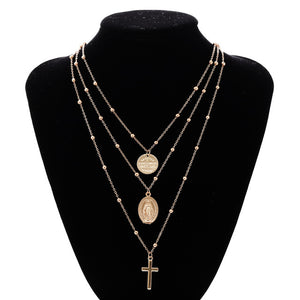 Multilayer Cross Virgin Mary Pendant Chain