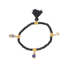 New fashion black bead evil eye bracelet