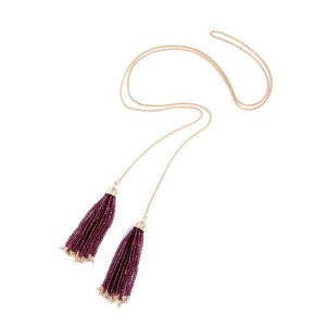 Gold Long Chain Double Pearl Tassel