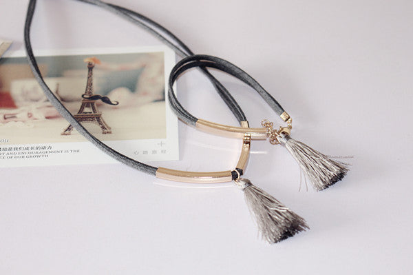 leather cord  jewelry tassel necklaces / Bracelet