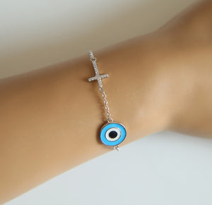Cross enamel evil eye charm bracelet