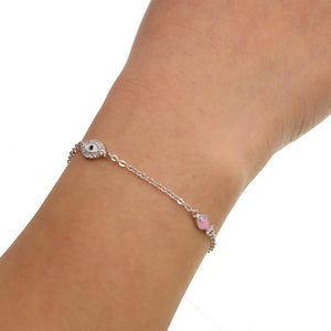 Enamel pink fish with evil eye charm bracelet