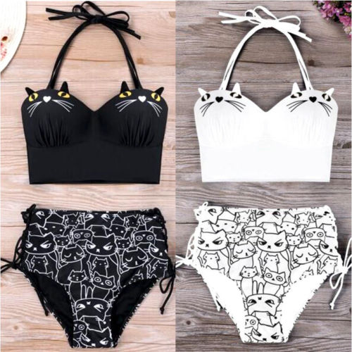 Cats Print Women High Waist Bikini Set