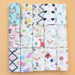 100% Muslin Cotton Blankets Dinosaur Unicorn Patterns Multi-use 4 Newborn