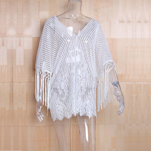 Summer Women Cardigan WhiteTassels