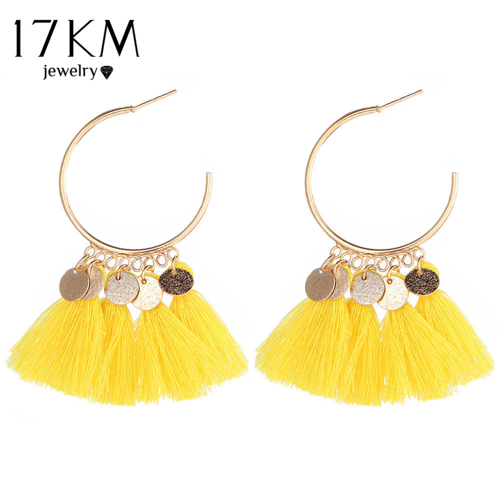 Vintage Sector Coin Drop Dangle Long Tassel Earrings For Women
