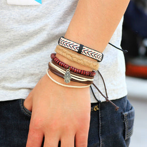 Bead Leather Bracelets & bangles 1 Set Multilayer Wristband