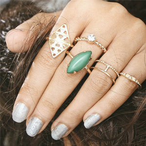6pcs/lot Unique Adjustable Ring Set Punk Style