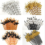 25pcs Horror Halloween Paper Drinking Straw
